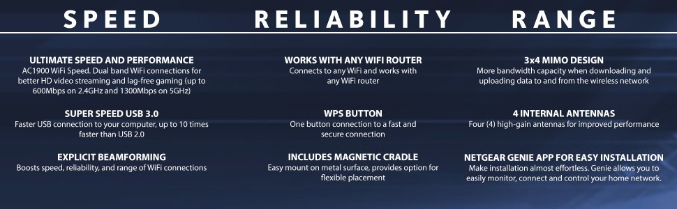 NETGEAR Nighthawk WiFi USB Adapter AC1900 - USB 3 0  Dual-Band  (A7000-10000S)