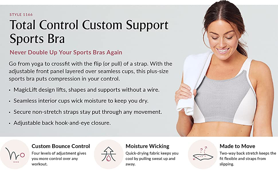 Total Control Custom Support Sports Bra magic lift yoga gym bra running spinning wire free