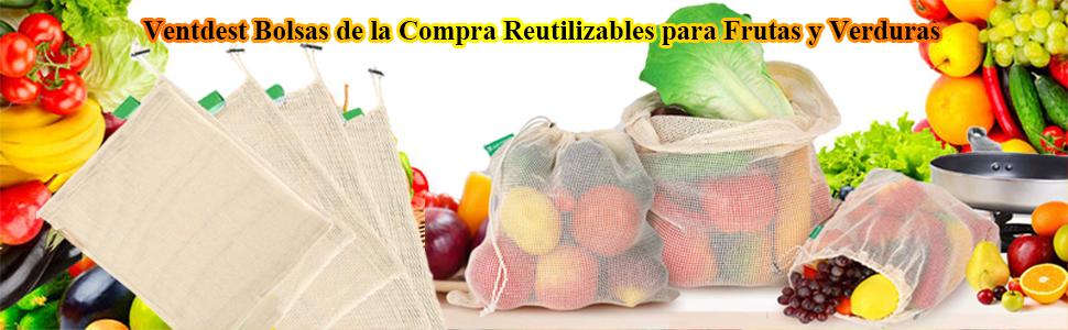 Ventdest 9PCS Bolsas de la Compra Reutilizables Ecológicas Bolsa ...