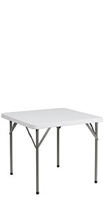 3-Foot Square Granite White Plastic Folding Table