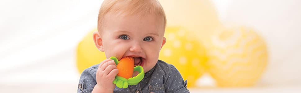 lil nibblers, carrot teether, teether, silicone teether, teething, infantino