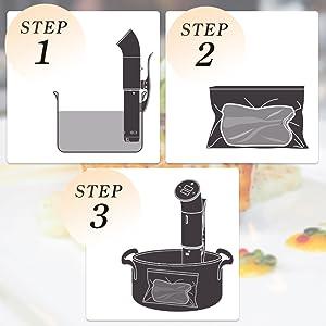 3つの手順で簡単調理
