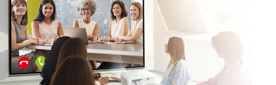 BenQ EX600 Business Smart Projector starts a video conference anytime.