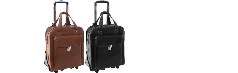 """Cognac and Black 15"""" Leather Vertical Patented Detachable -Wheeled Laptop Briefcase"""
