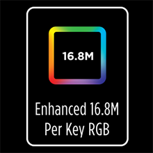 RGB+ 2x brighter 16.8M colors - the brightest and most blingy RGB keyboard