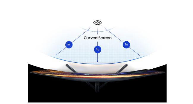 Top view of the Samsung Curved 4K UHD Monitor to show the curved screen