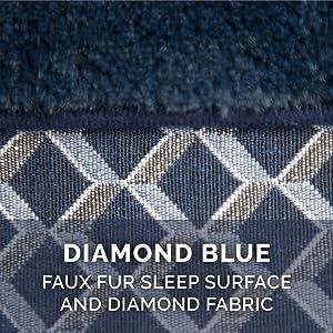 sleep; surface; high pile; plush; faux fur; woven; linen; upholstery; diamond; blue; navy; sapphire