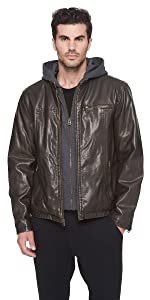 Faux Leather Racer Hoody with Fleece Lining