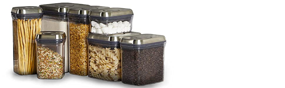 Oxo Steel 3107500ss Pop Canister Set 3 Piece Silver