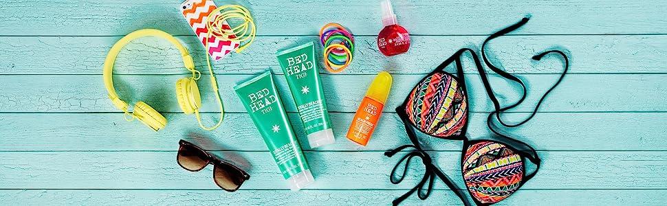 tigi letto testa di letto testa di letto estate prodotti per capelli per la cura dei capelli protezione UV districante spray condizione shampoo