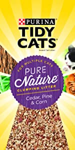 Purina Tidy Cats brand litter for multiple cats. Pure Nature clumping litter. Cedar, pine and corn.