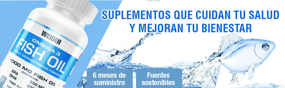 Weider Fish Oil, capsulas de aceite de pescado, Omega 3. 90 capsulas. EPA y DHA. Enriquecido con Vitamina E