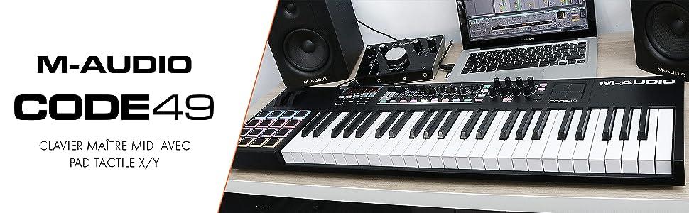M-Audio - CODE 49 - Clavier Maître MIDI 49 Touches AfterTouch avec Pad Tactile X/Y, 16 Pads, 9 Faders + Logiciels VIP 3, Ableton Live Lite, Hybrid 3 et Loom Inclus - Noir