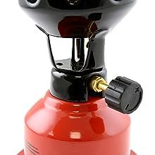 NEAN Camping de propano y butano, hornillo, Shisha, carbón, mechero + 2 cartuchos de gas, rojo