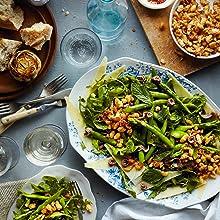 Asparagus, salad, bread, wine, recipe, healthy, vegan