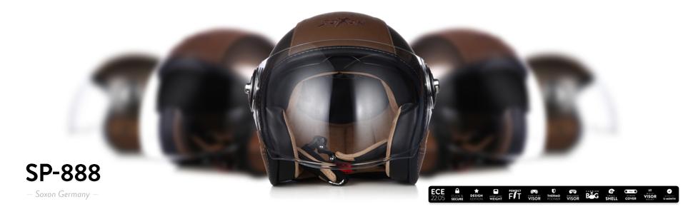 "53-54cm SOXON/® SP-888 Pro /""Urban Bronze/"" /· Jet-Helm /· Motorrad-Helm Roller-Helm Scooter-Helm Moped Mofa-Helm Chopper /· ECE 22.05 Sonnenvisier Leather-Design Schnellverschluss SlimShell Tasche XS"