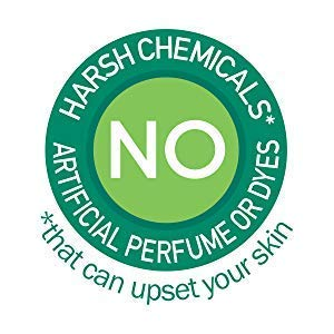No harsh chemicals, artificial perfume or dyes that can upset your skin