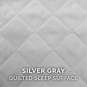 sleep; surface; quilted; stitching; polyester; silver; smoke; light; gray; white