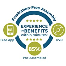 Frustration-free assembly, free app, 85% pre-assembled, experience benefits in minutes, with dvd