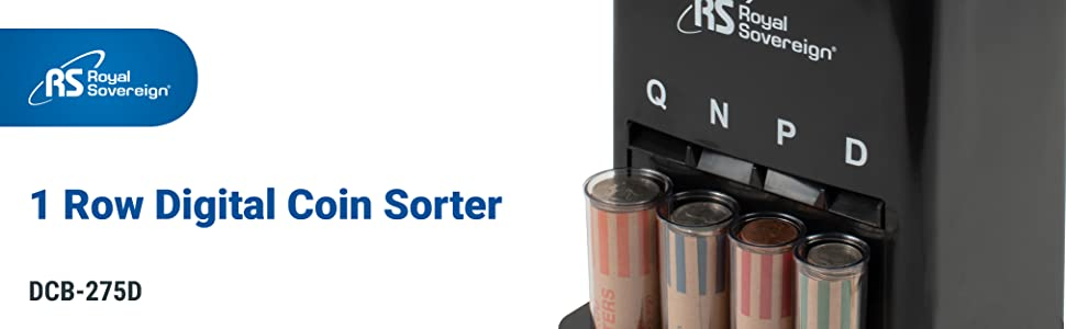 Man Royal Sovereign 1 row manual coin sorter can hold up to 200 coins at a time