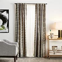 modern clean urban luxurious metallic drapes lined light blocking room darkening living room bed