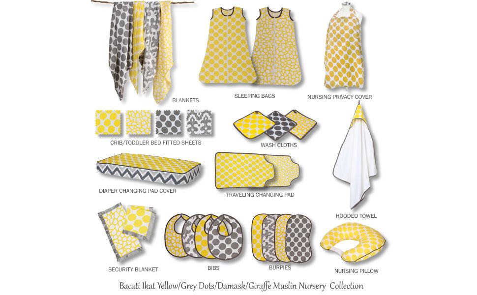 Bacati Ikat Yellow/Grey Muslin Bedding Collection