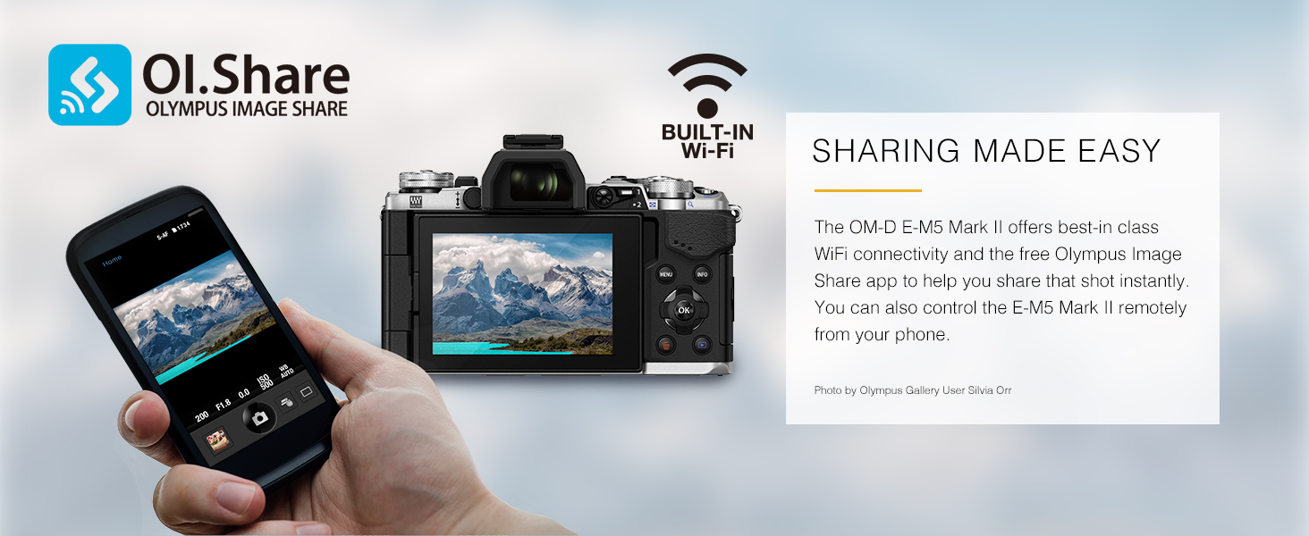 OM-D E-M5 Mark II sharing made easy built-in wi-fi wifi