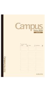 コクヨ 手帳 2020 1月 12月 ダイアリー 週間 キャンパス campus 月曜始まり 見開き 片面 1週間 メモ バーチカル スケジュール H32 平成32年 ウィークリー ベージュ 薄茶