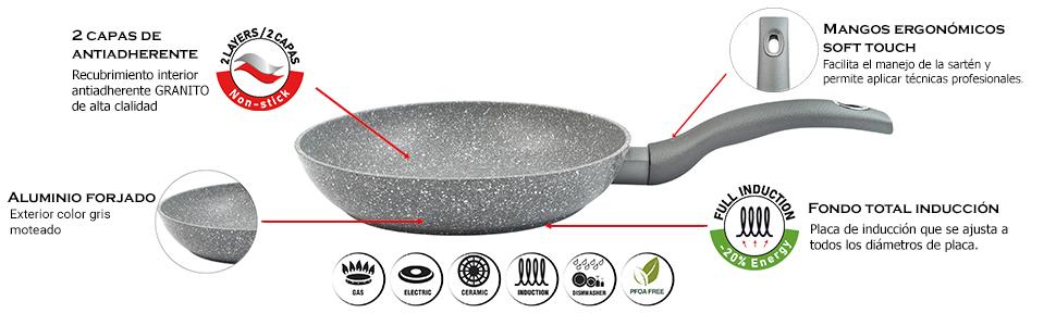 Magefesa 01224370 Magefesa Graphito Sartén 20 Cm de Aluminio Forjado ...
