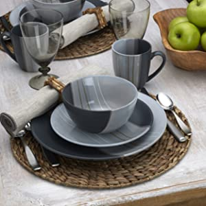 pfaltzgraff, parker gray, dinnerware, dinner, plates, mikasa, corelle