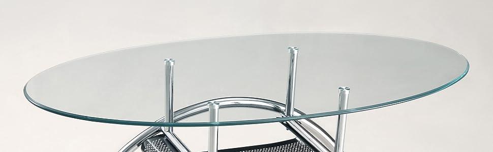 Walker Edison Glass Oval Coffee Table Amazon Ca Home Kitchen