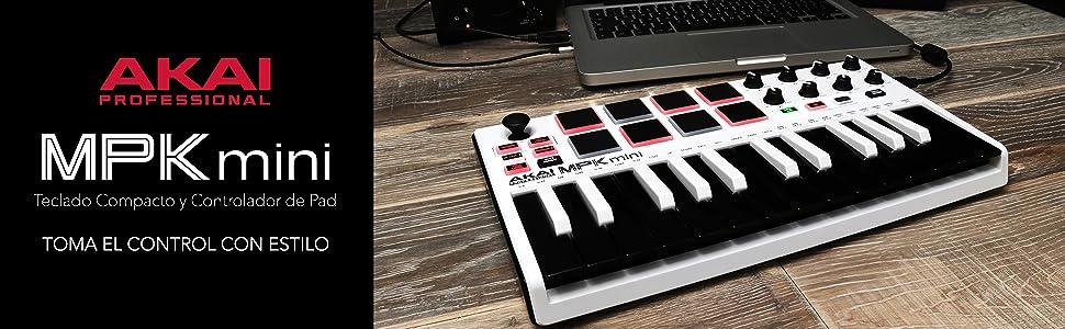 AKAI Professional MPK MINI MKII LE White - Teclado Controlador MIDI USB Portátil con 25 Teclas, 8 Pads MPC, 8 potenciómetros, Joystick, VIP 3 y ...
