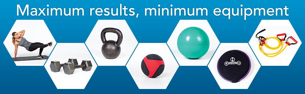bodyweight, dumbbell, kettlebell, medicine ball, stability ball, sandbag, resistance band