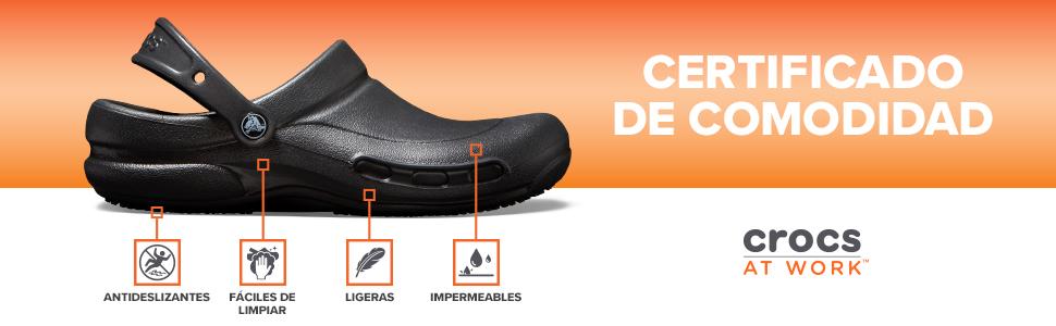 5ba0e8ee Crocs Unisex Mercy Work Croslite Slip On Clog Black/Black: Amazon.es ...