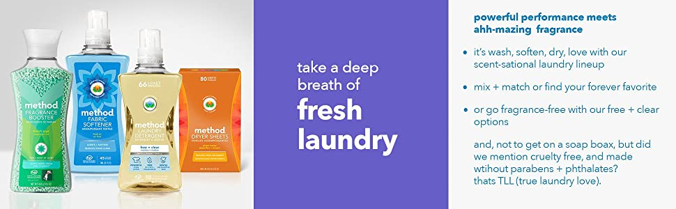 laundry, detergent, fabric softener, dryer sheets, fragrance boosters