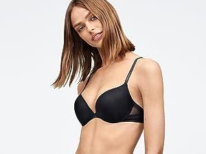 e657a86e9730e Calvin Klein Women s Perfectly Fit Push Up Plunge Memory Touch Bra ...