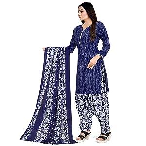Rajnandini Women's Orange Cotton Printed Unstitched Salwar Suit Material