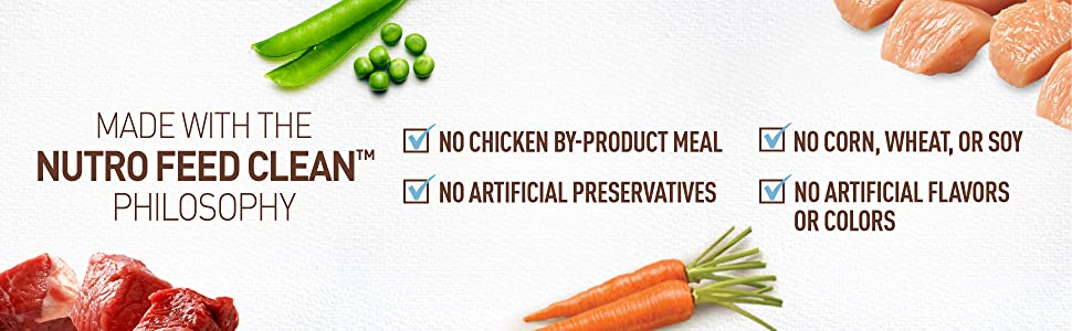 No Artificial by-product meal or artificial preservatives or flavor, no corn or wheat or soy, Just 6