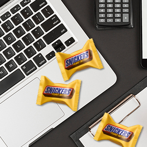 make the work day even more delicious with mini Snickers Chocolate Bars.