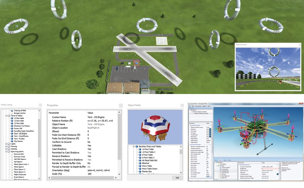 Bird's eye view of simulator flying field with multiple open airport and flying field site editors
