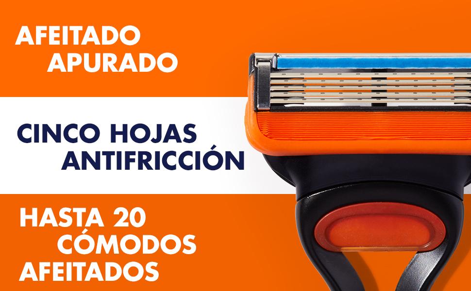 Imagen del cabezal de Gillette Fusion5 con cinco hojas antifricción para 20 cómodos afeitados.
