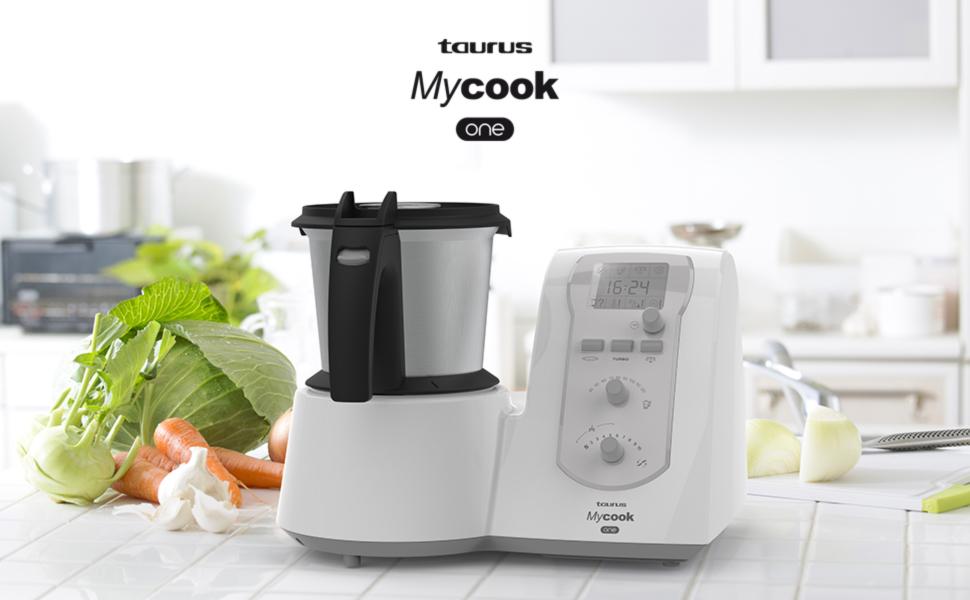 Taurus Mycook One Robot de Cocina Inteligente Multifunción, 1600 W, 2 litros, Plástico y Acero Inoxidable, 10 Velocidades, Embellecedor Gris: Amazon.es: Hogar