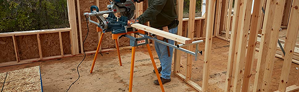 Pm4000 Portamate Miter Saw Workstand construction site