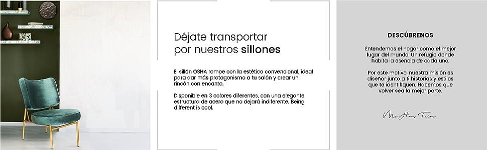 Mc Haus Verde Pino Sillón butaca Salón o Comedor OSHA, Telas, 43,5 x 63 x 76 cm
