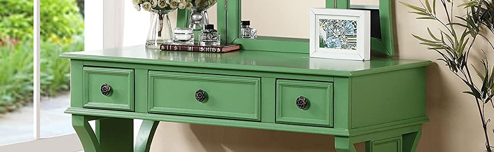 Phenomenal Poundex Bobkona Edna Vanity Set With Stool Apple Green Pabps2019 Chair Design Images Pabps2019Com