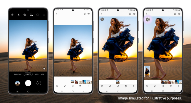 4 phones next to each other, each with a photo of a woman standing on the sand