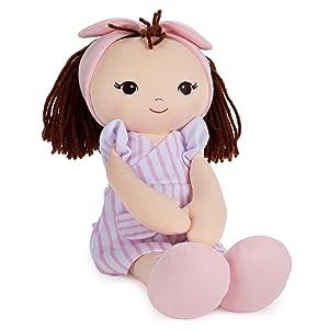 baby gund baby doll toddler brunette pink dress girl plushie stuffed animal doll