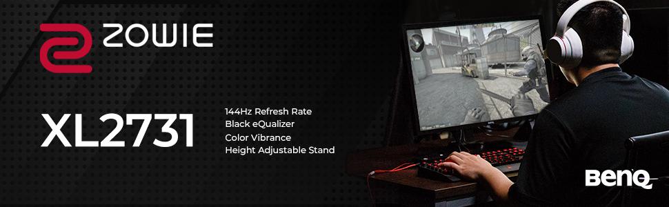 XL2731 144hz frecuencia de actualización negro ecualizador color vibrancia altura ajustable soporte esports monitor