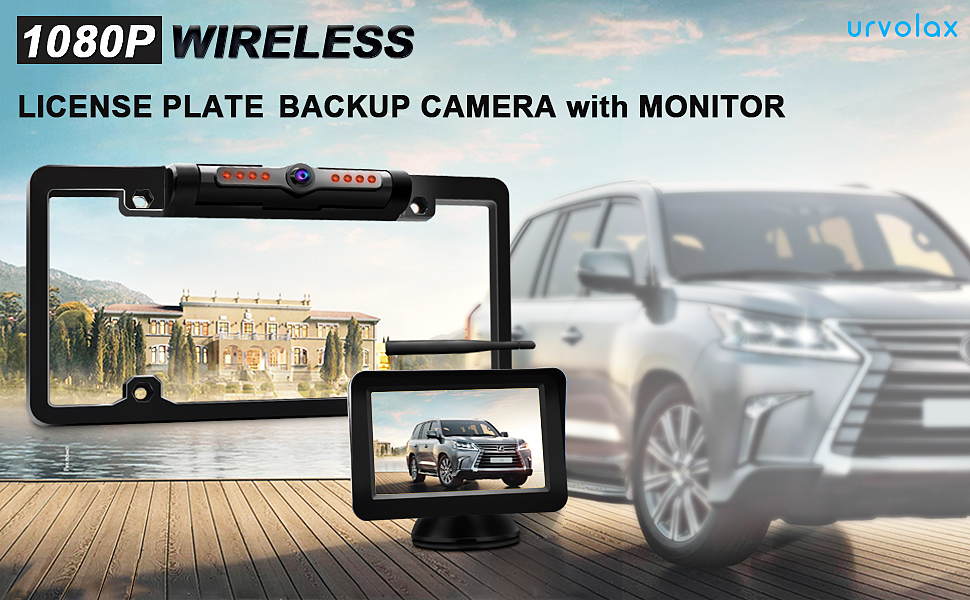 URVOLAX-Wireless Backup Camera License Plate-Monitor Kit 5 inch 1080P HD Universal Reverse-Rear View Camera IP69K Waterproof 170/°Wide View Angle,Digital Stable Signal,Easy Installation