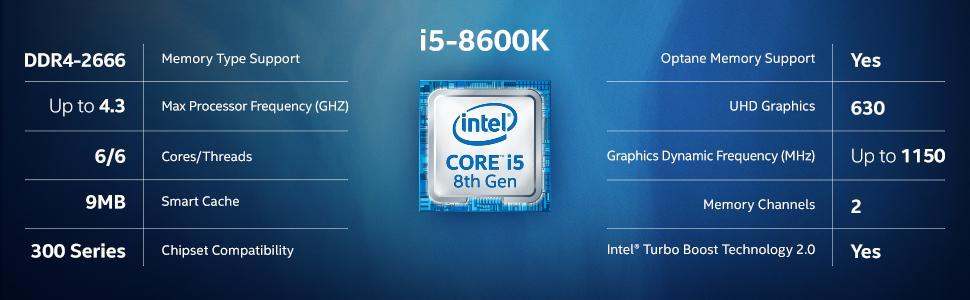 Intel Core i5 8600K Coffee Lake 8th Gen 6 Core 3 6 GHz LGA1151 Intel UHD  Graphics 630 Desktop Proces